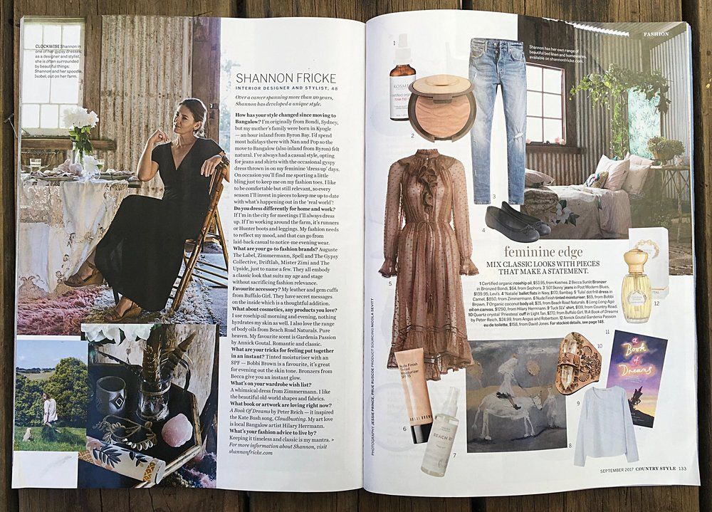 Buffalo Girl Priestess Cuff featured in the September 2017 issue of Country Style magazine