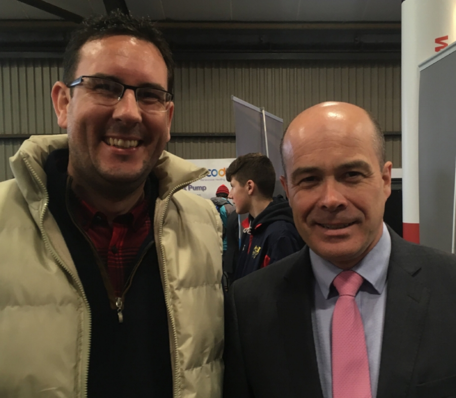 Brian O'Callaghan, Glas Éireann Solutions, with Minister for Communications, Climate Action and Environment Denis Naughten at a recent event.