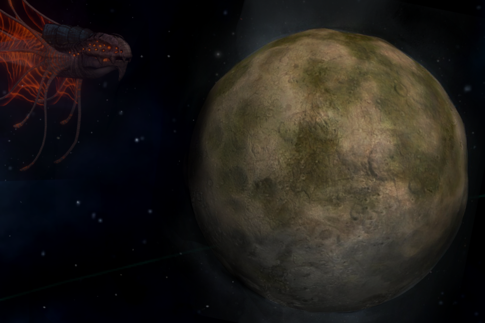 Image: An image of the tomb world of Desolas, taken with a telescope from a distance of 26ly. The irradiated hue of the planet is visible as a green tinge, and is noted to be so toxic even Leviathans, like the Ether Drake pictured, avoid it.
