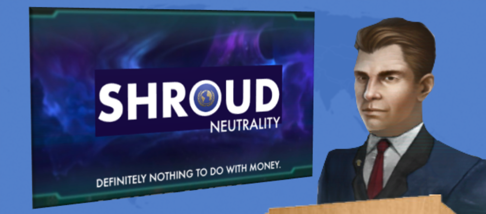 Image: UNE president Jeffrey Rossario announces Shroud-neutrality rollback at the UNE Congress in Ulm.