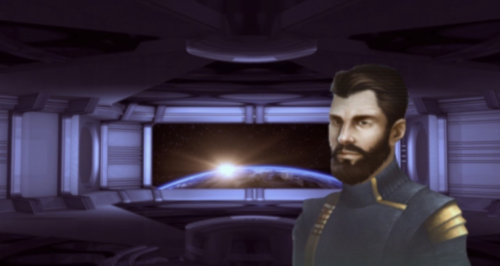 Image: UNE Admiral A.K Barr pictured aboard the Citadel, Earth's primary military starport.