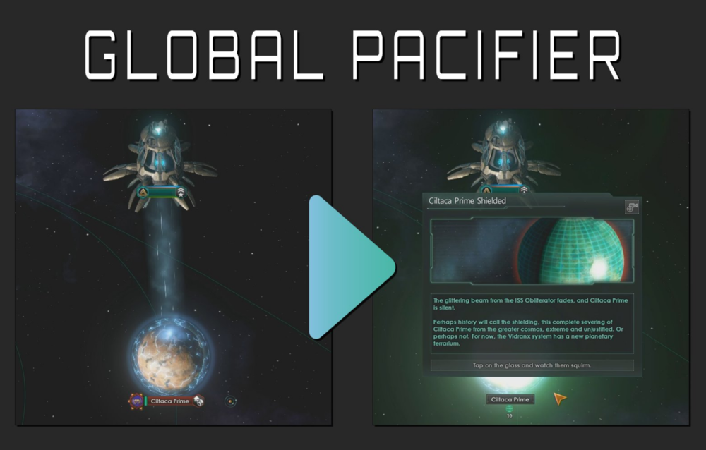 Image: The Galactic UN press conference offered a demo video on how 'Global Pacification' would work. [Image from @StellarisGame]