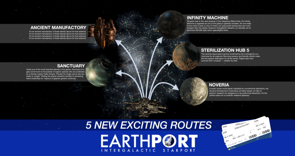 Commercial: Fly direct to Saiiban and 5 other exciting new routes with Earthport, Earth's gateway to the galaxy.