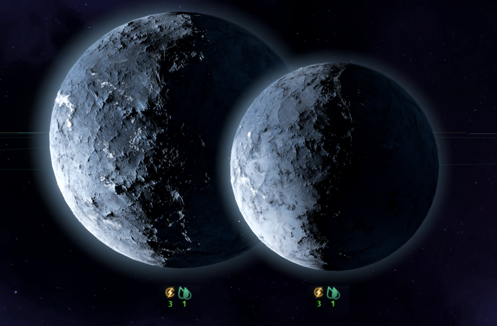 "Image: The Lyrian Polity recently discovered what it called ""ridiculously huge"" amounts of Terraforming Liquids on the frozen planet of Gianfor X and its large moon Gianfor XI."