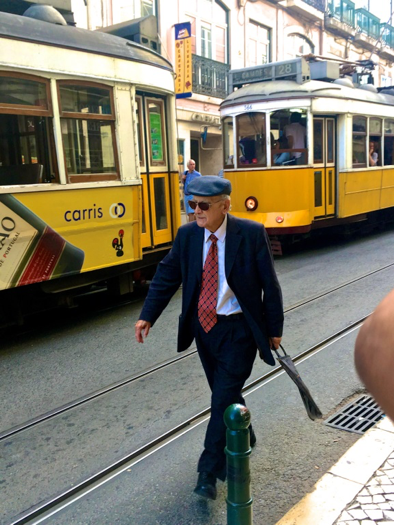 A local man just got off Tram 28 and heading for work