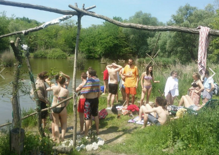 Visitors from all over the world come together for a dip in the lake