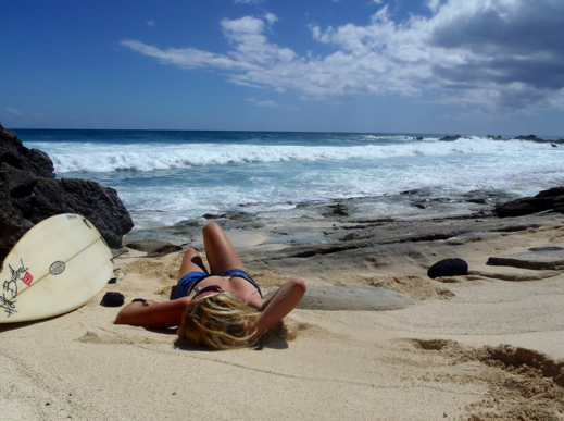 Relaxing after an incredible surf