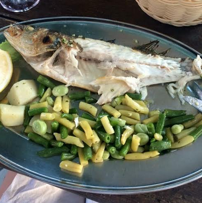 Grilled fish and veggies