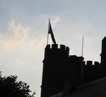 A flag flies from the top of Bryn Mawr's Towers
