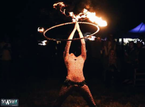 Fire Hooping for a captive audience at Splashy Fen Music Festival, South Africa