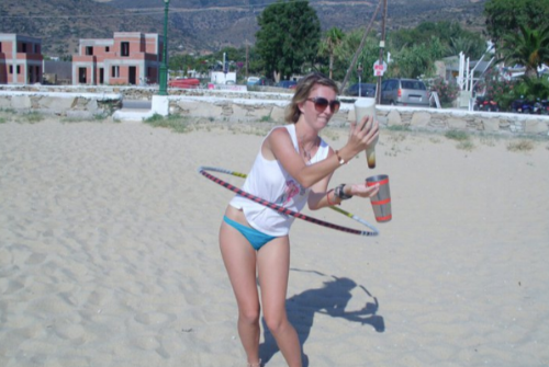Flaring while hooping during my first solo adventure in Greece