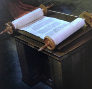 BEMA This original Bema was used in the Synagogue by the Rabbi to read from the torah Scroll. It was first used in 1924. It is still being used today at our Shabbat Service.