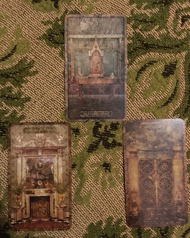 "Good evening, and warm salutations! For our regularly scheduled tarotscope today, our topic coincides with a perhaps more practical consideration. In the uppermost position, the overarching influence is marked by Judgment—a realization, or perhaps a moment of clarity. The spread suggests that this may be felt in matters concerning your efforts in the realm of the material—whether they're goals, or they concern the ""everyday experience"" of you at work—these tend to be generally relevant considerations in the scope of our grounded Knight of Coins & his field of activity. Finally, we observe the 6 of Coins—the gate through which material influences enter & leave your kingdom. Dear reader, is there some kind of message blasting through your ceiling into your otherwise cozy den? What is your relationship to the gate in the 6 of Pentacles? What doors of opportunity may be opening or closing at this time? Or, must you lock & secure the gate? Be thorough in examining your current circumstances, consider them from a higher vantage. Upon doing so, act decisively. #momentofclarity #tarotscope #dailytarot #tarotreadersofinstagram #tarot #mythandmask #tyldwicktarot"