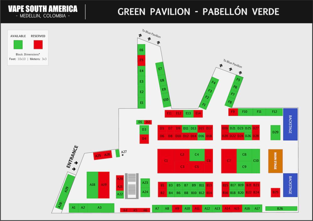 El Pabellón Verde  en Vape South America es la primera sala en la que los asistentes ingresarán, debido a que la entrada principal se encuentra aquí. El escenario principal también se encuentra en este pabellón. Habrá Live Music, Sorteos y Cloud / Trick Comps que se llevarán a cabo cerca del escenario principal.    HAGA CLIC PARA DESCARGAR EL MAPA DEL PABELLÓN VERDE>