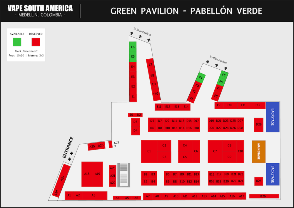 The Green Pavilion  at Vape South America is the first room that the attendees will enter, due to the main entrance being located here. The Main Stage is also located in this Pavilion. There will be Live Music, Giveaways and Cloud/Trick Comps taking place near the Main Stage.    CLICK TO DOWNLOAD GREEN PAVILION MAP >
