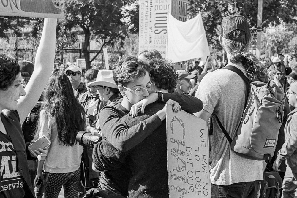 During the Women's March, Los Angeles, 2017.