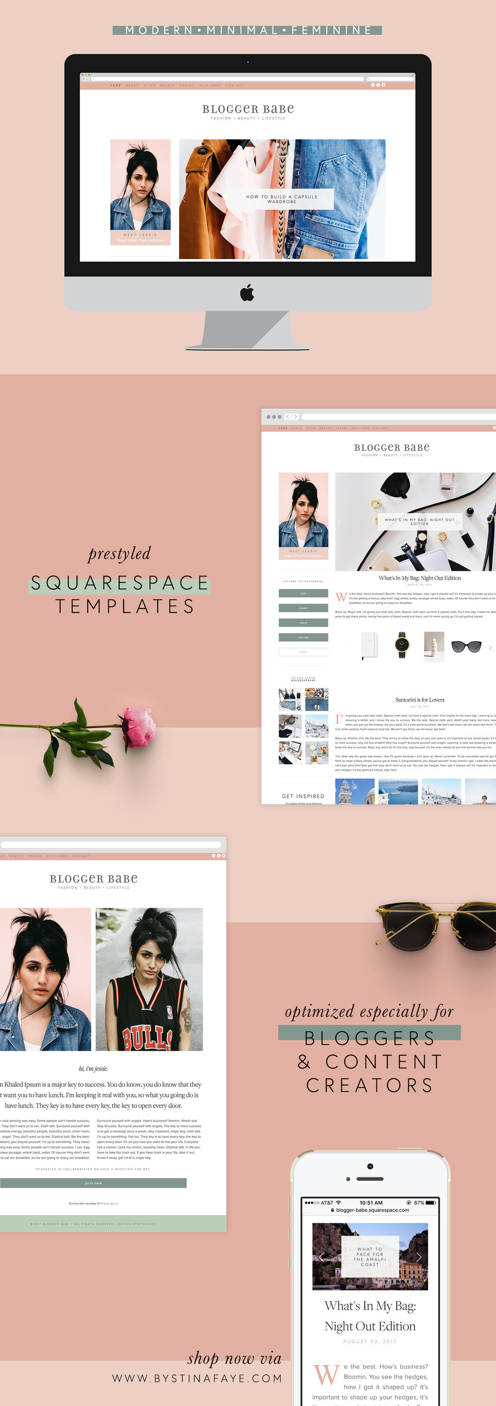 Blogger Babe - A minimal Squarespace template for bloggers.