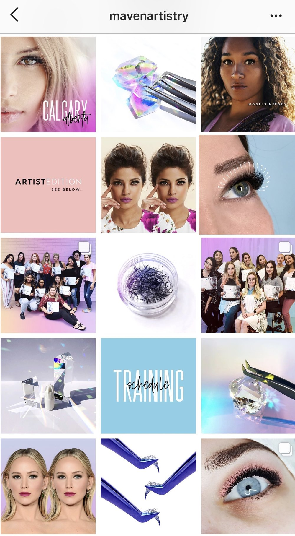 @mavenartistry - If you're a lash pro, you're probably already following this gem! Trina does an amazing job at not only incorporating her brand colors into her feed in a way that feels effortless and organic, but also offering value-infused, varietal content to position her as the lash industry expert she is.