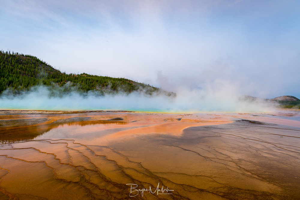 Grand Prismatic as seen from the walkways. This would be the perfect time for a helicopter tour!