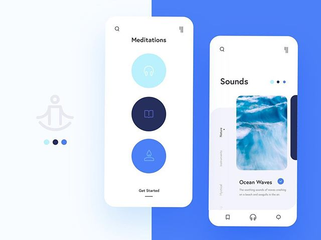 Here's a new design I made for a meditation app!  This app makes taking some time for yourself simple and straightforward. 🧘 The app leads you through 3 steps: choosing a background sound, a type of meditation, and setting the atmosphere. In the atmosphere step, turn on your automated devices to take your meditation to the next level. For instance, you can dim your lights, choose a scent from your diffuser, and turn on your humidifier. Then save your selections for next time you meditate. This is a concept app for my Automated Hack Series for my Adobe Creative Residency.