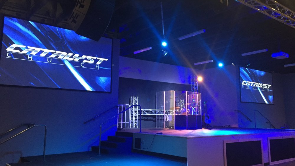 Catalyst Church - Glendale, AZ       (NEC Laser Projectors, QSC Line Array Speaker Systems, Allen & Heath GLD112 Console, BMD ATEM 1M/E Switcher, Studio Camera 4K, Studio Micro Camera 4K)