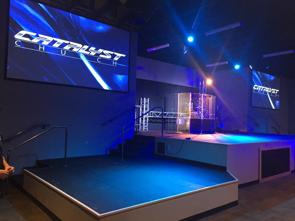 Elation Professional LED Lighting and Laser Projection set the mood for this sattelite campus in downtown Glendale, AZ.