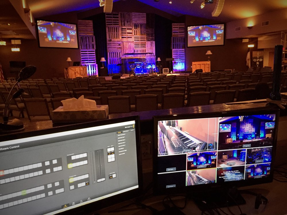 Blackmagic Design switcher and camera system handling live streaming for church worship and services.