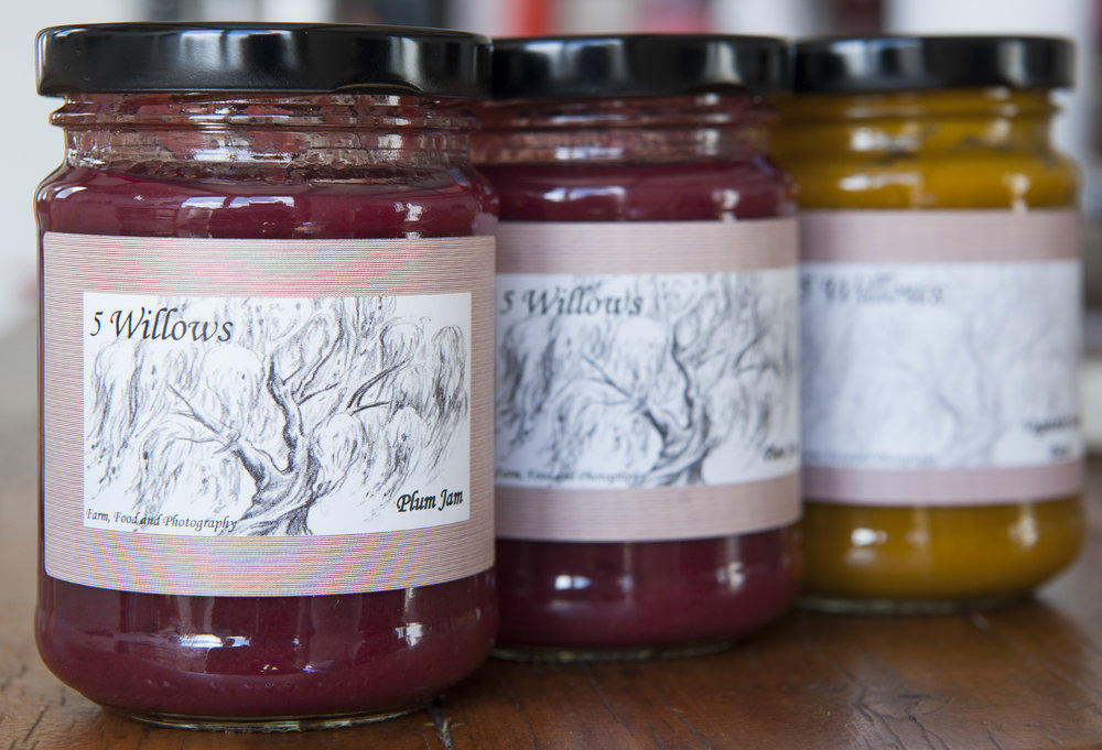 Two of the first jars of Plum Jam Spread, together with the first jar of Vegetable Stock Paste
