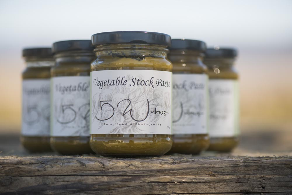 Vegetable Stock Paste - Vegetable stock paste - available from The Market, Jindabyne anddirectly from 5 Willows.Made from the freshest ingredients, with as many grown on the property as we can with the seasons, this is a beautiful stock for your home cooking needs.One level tablespoon will be enough to produce 500ml of vegetable stock.The jar of stock paste can produce 5 litres in total.$10 per jar