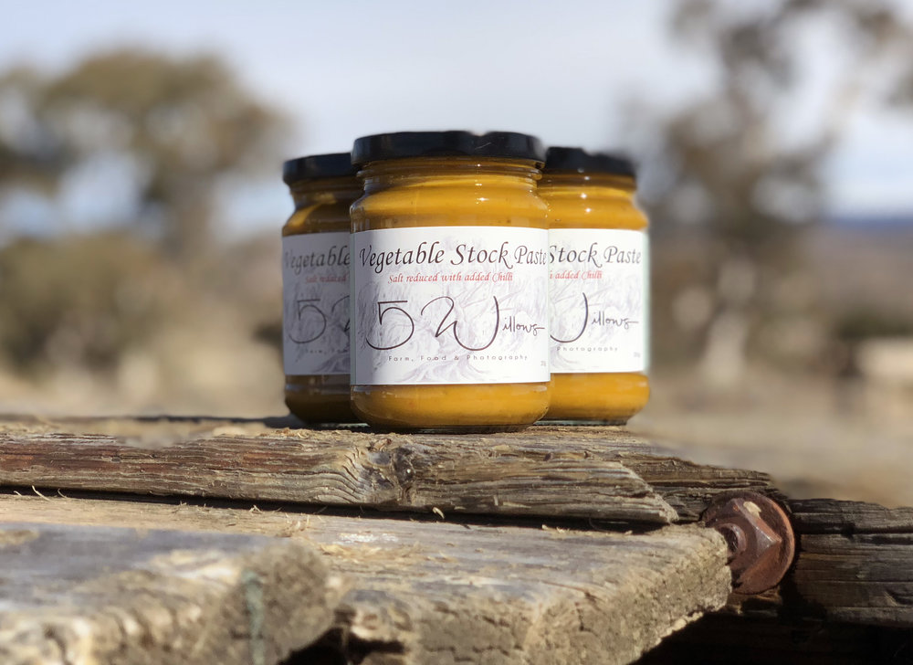 Salt reduced with added chilliVegetable Stock Paste with bite - Vegetable stock paste - salt reduced salt added chilli- available from The Market, Jindabyne and directly from 5 Willows.Made from the freshest ingredients, with as many grown on the property as we can with the seasons, this is a beautiful stock for your home cooking needs, and adds a little zing to any dish.One level tablespoon will be enough to produce 500ml of vegetable stock.The jar of stock paste can produce 5 litres in total.10 per jar
