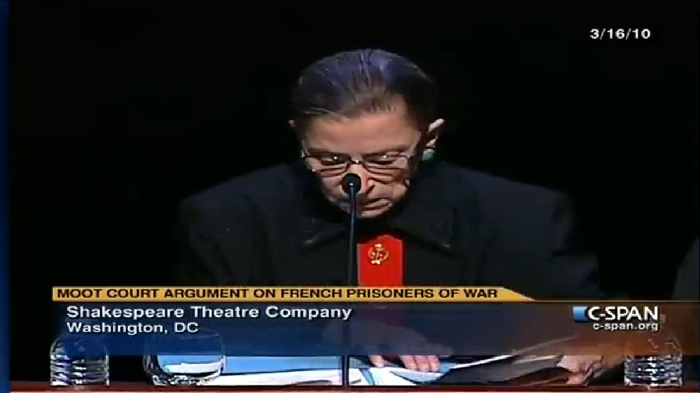 Justice Ruth Bader Ginsburg sits in judgment of Henry V