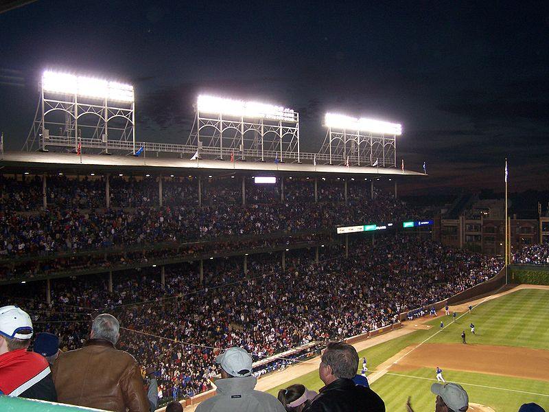 The lights at Wrigley Field, installed in 1988.