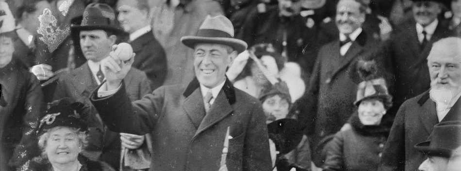 Woodrow Wilson throwing the ceremonial first pitch at the 1915 World Series.