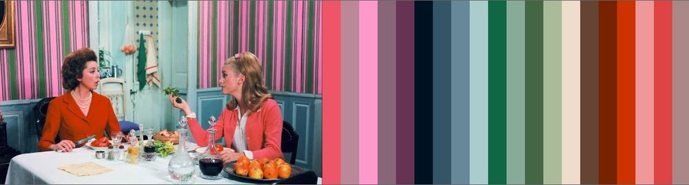 Color Palette from a shot of Anne Vernon and Catherine Deneuve from The Umbrellas of Cherbourg