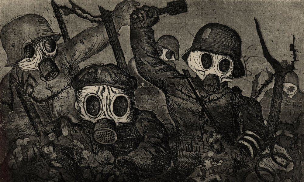 Otto Dix (1891–1969) .  Storm troopers advancing under a gas attack from the portfolio War  1924.