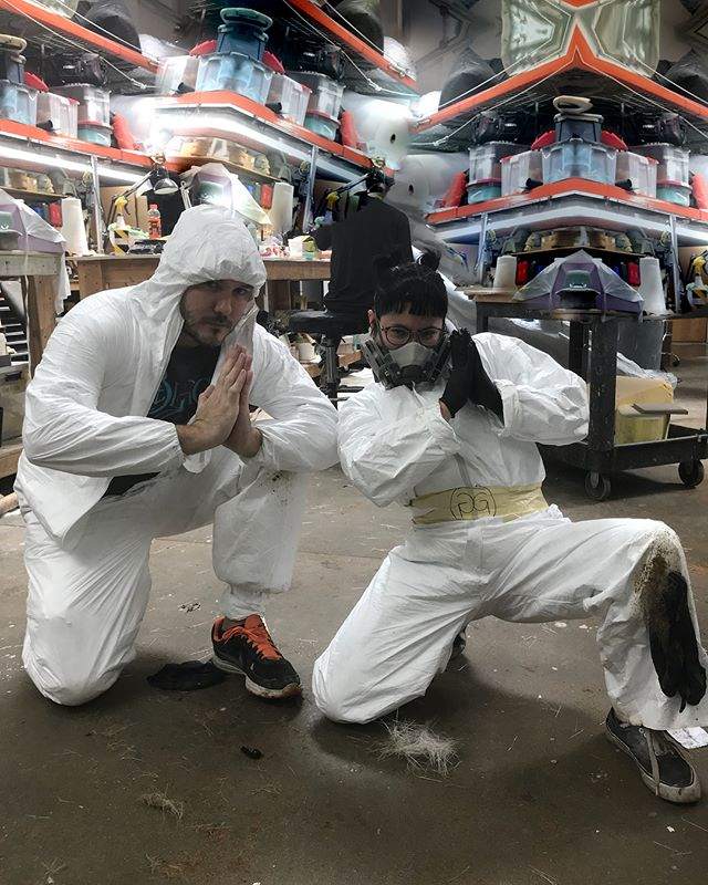 Carlos and I are sporting next season's @gucci Streetwear Line at work. Check out this exclusive sneak peek. #fashion #work #safetyfirst #fabrication #gucci #streetwear #fiberglass #moldmakers #alliance #nyfw