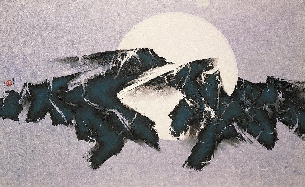 劉國松代表作之一《日月浮沉》( 水墨 , 1970 , 2010 為大英博物館收藏 )