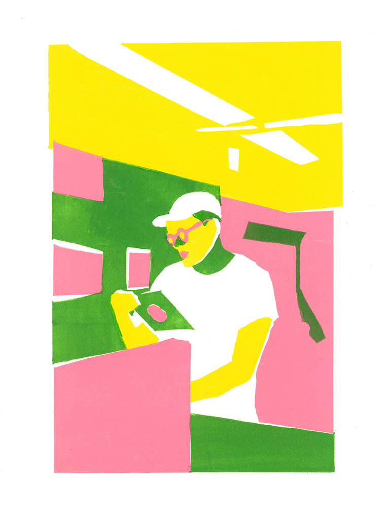Antarius at the Record Store  Relief print / 2015