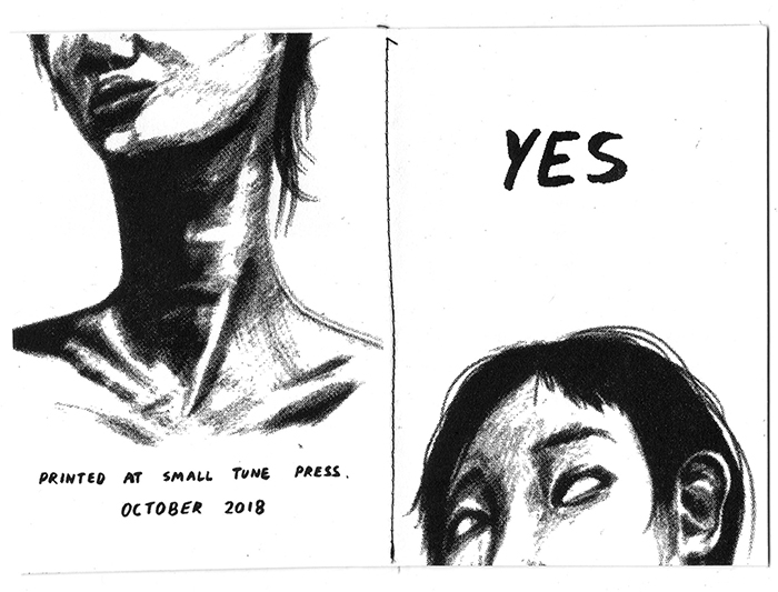 17 / 10 / 2018  New  risograph zine  (A6) about survivor's guilt called  Yes . Will debut at art book in China, Modern Art Museum Shanghai.