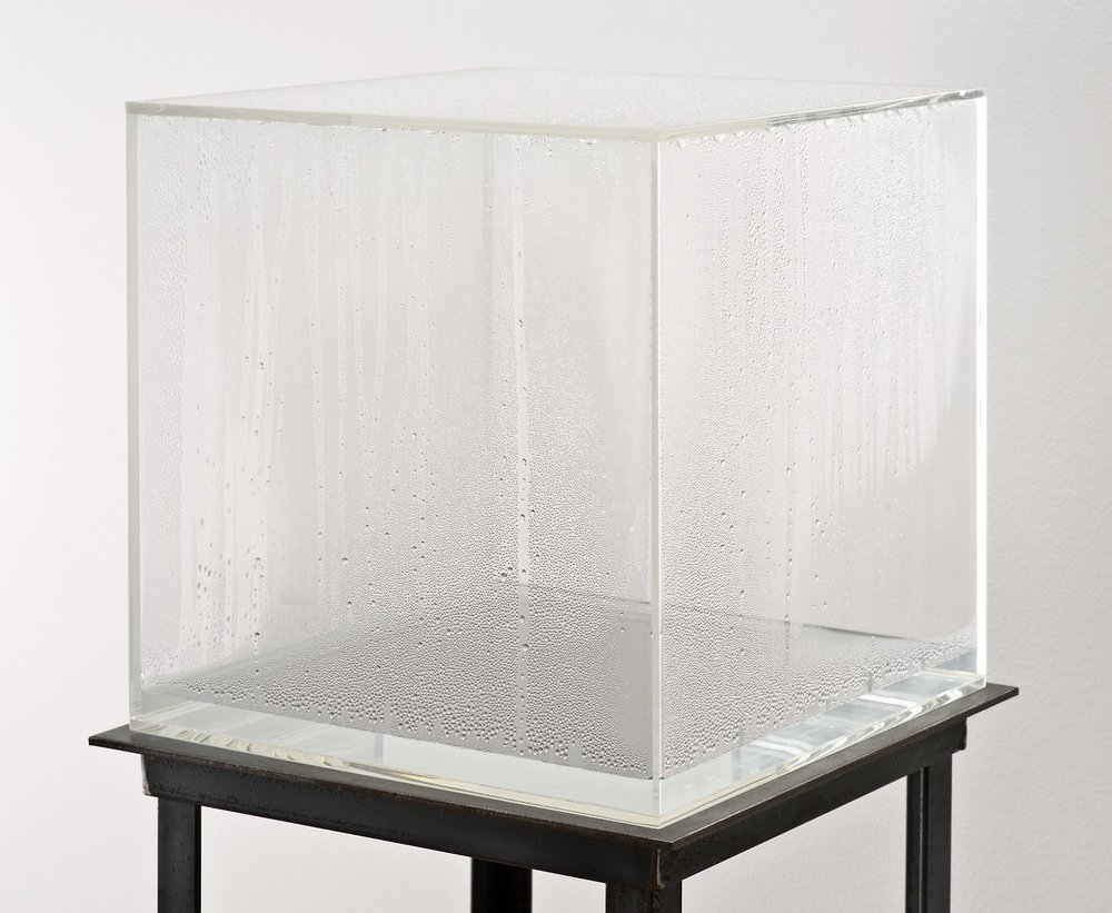 Fig. 2 Haacke, H. (1965), Condensation Cube, Perspex, steel, water, 305 x 305 x 305mm, Tate Modern, London.