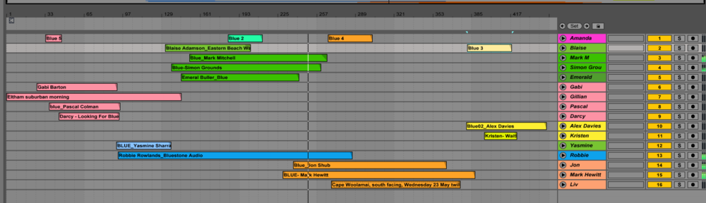 Screen shot of DAW Ableton Live. Making clusters of sounds.