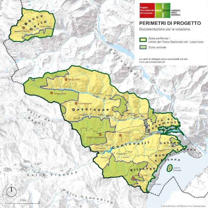 I perimetri del Parco Nazionale del Locarnese sarebbero quelli illustrati nell'immagine.