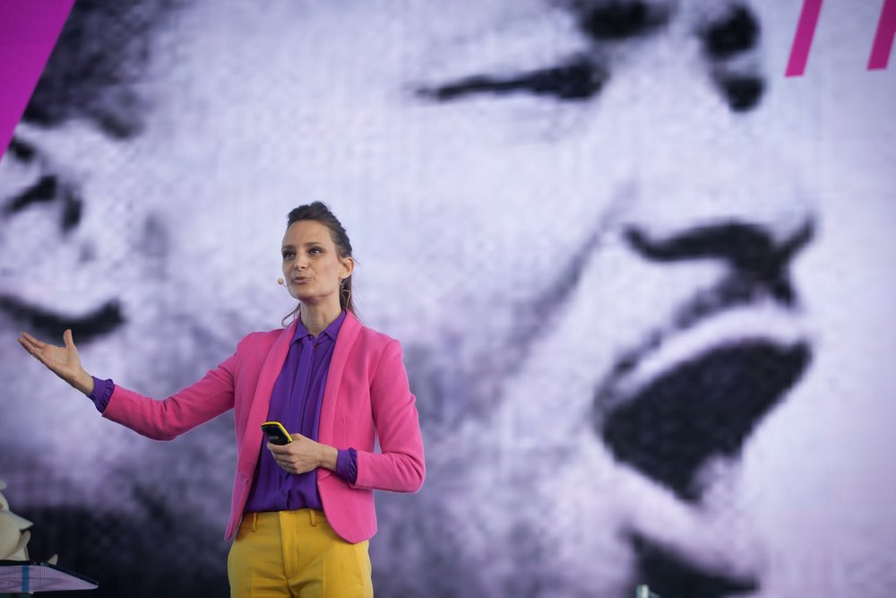 Sustainia100 launch in oslo in front of 600 people. Martin Luther King in the back as we all have a responsibility to allow people to dream about a better future.