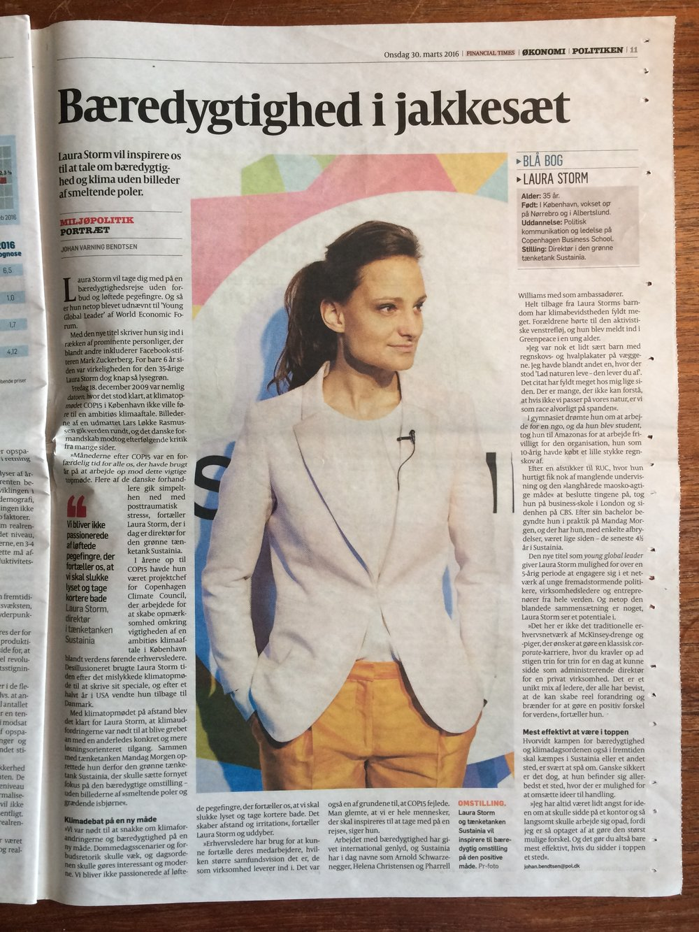 Portrait in Danish Newspaper POLITIKEN, March 30, 2016
