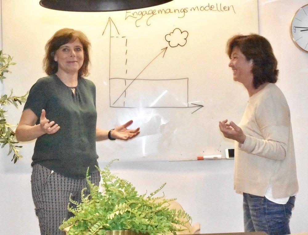 Anna-Karin Lingham och Cristina Tscherning, grundare till Engagemangsmodellen.  Foto: Cristina Tscherning