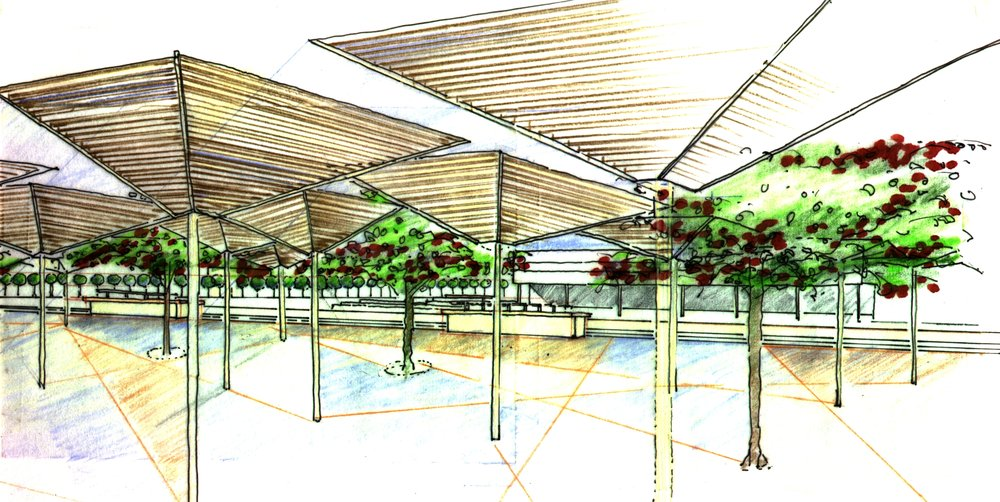 Initial sketch for design of market