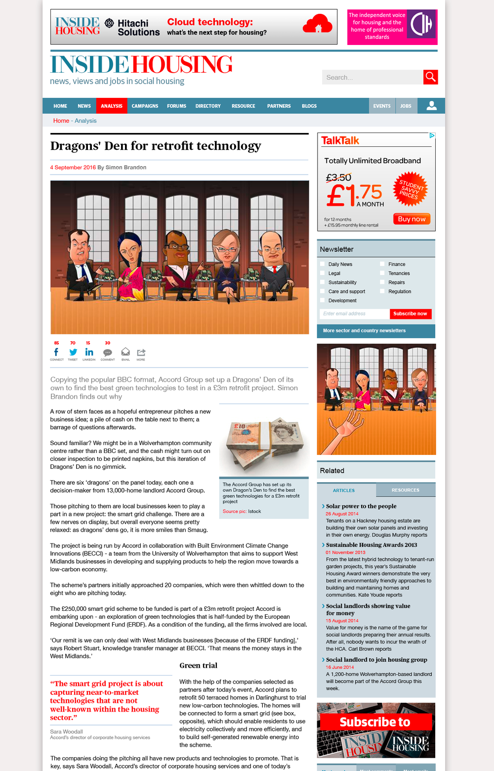 Article page showing improved typography.