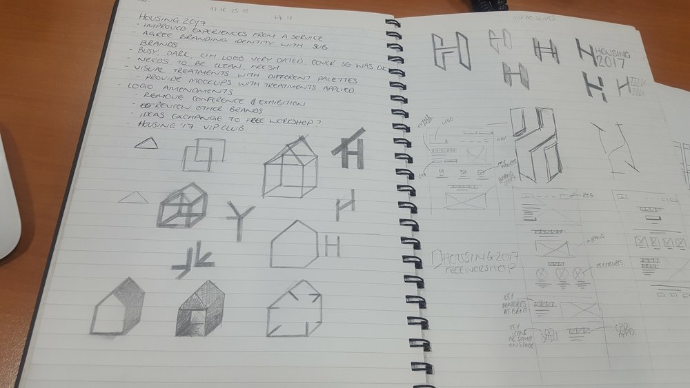 Notes taken from some of the workshops. Plus initial sketches for the rebrand.