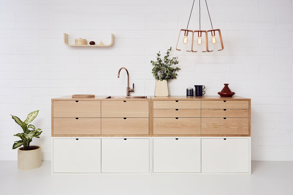 U-shaped shelf (£90), Kitchen, Fab chandelier (£270), Erlen planter (£45), Plant pot (£30)