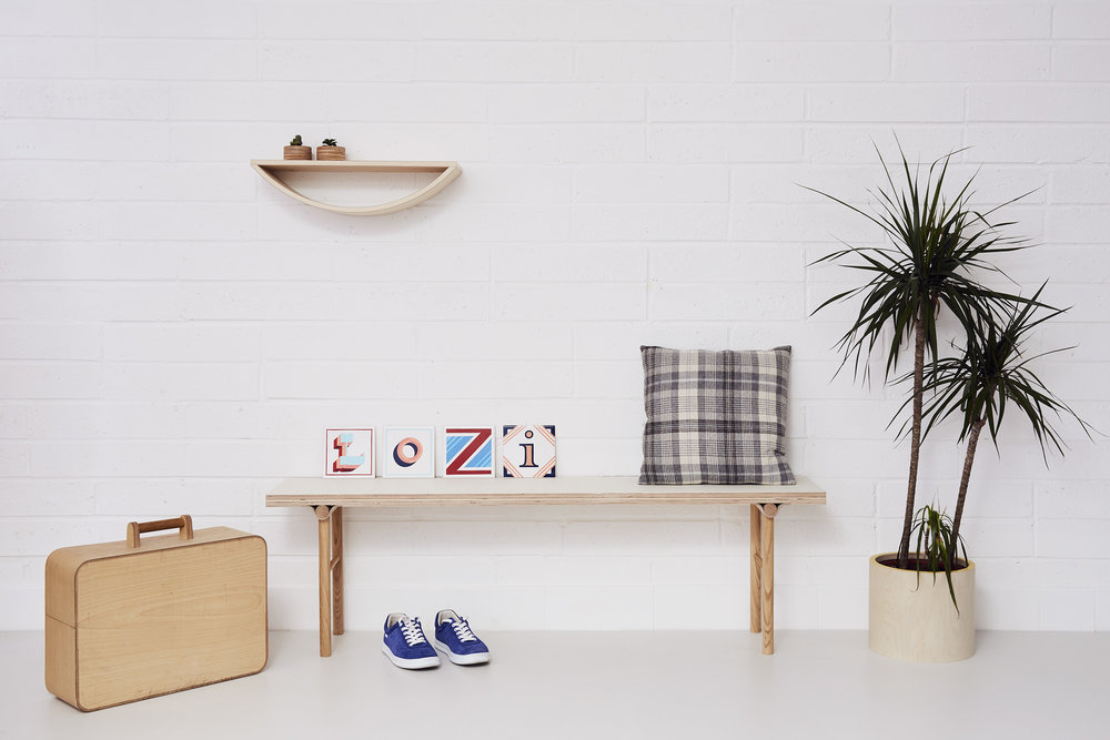 Bench (£240), Small Smile shelf (£90), Medium round planter (£30), bespoke Tool Box
